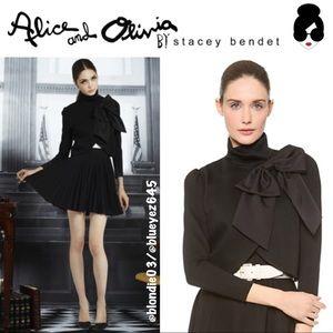 "Alice + Olivia ""Addison"" black bow crop blazer M"